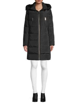 Michael Michael Kors Faux Fur-Trim Down Puffer Coat In Black