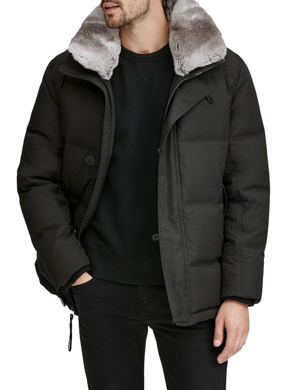 Andrew Marc Bryant Rabbit Fur-Collar Mid-Length Down Puffer