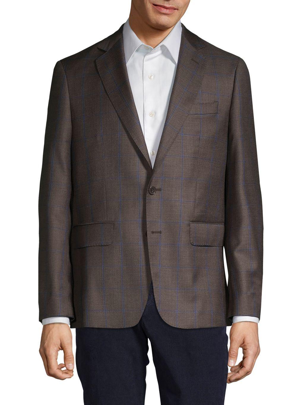 Components by JM Windowpane Check Virgin Wool Sportcoat