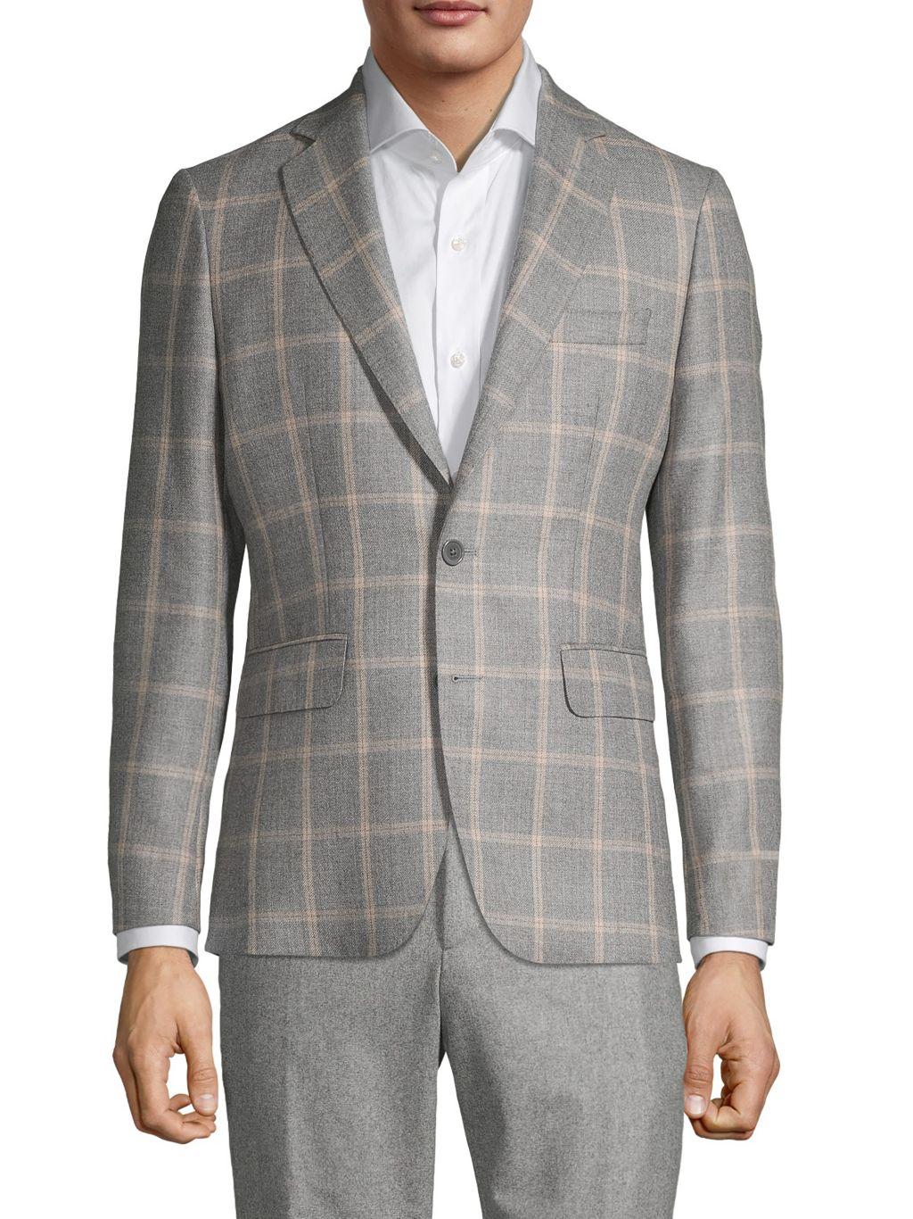 Components by JM Windowpane Virgin Wool & Silk Sportcoat