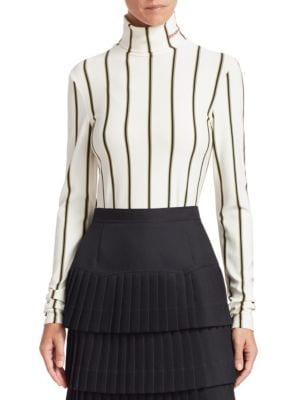 Calvin Klein Knits Stripe Turtleneck Knit Sweater