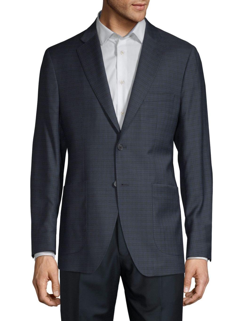 Saks Fifth Avenue Made in Italy Tonal Windowpane Plaid Wool & Silk-Blend Blazer
