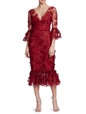 Marchesa Embroidered Floral Lace Mermaid Midi Dress In Red