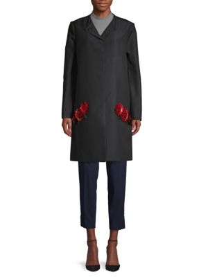 Zac Posen Coats Rose Appliqué Coat
