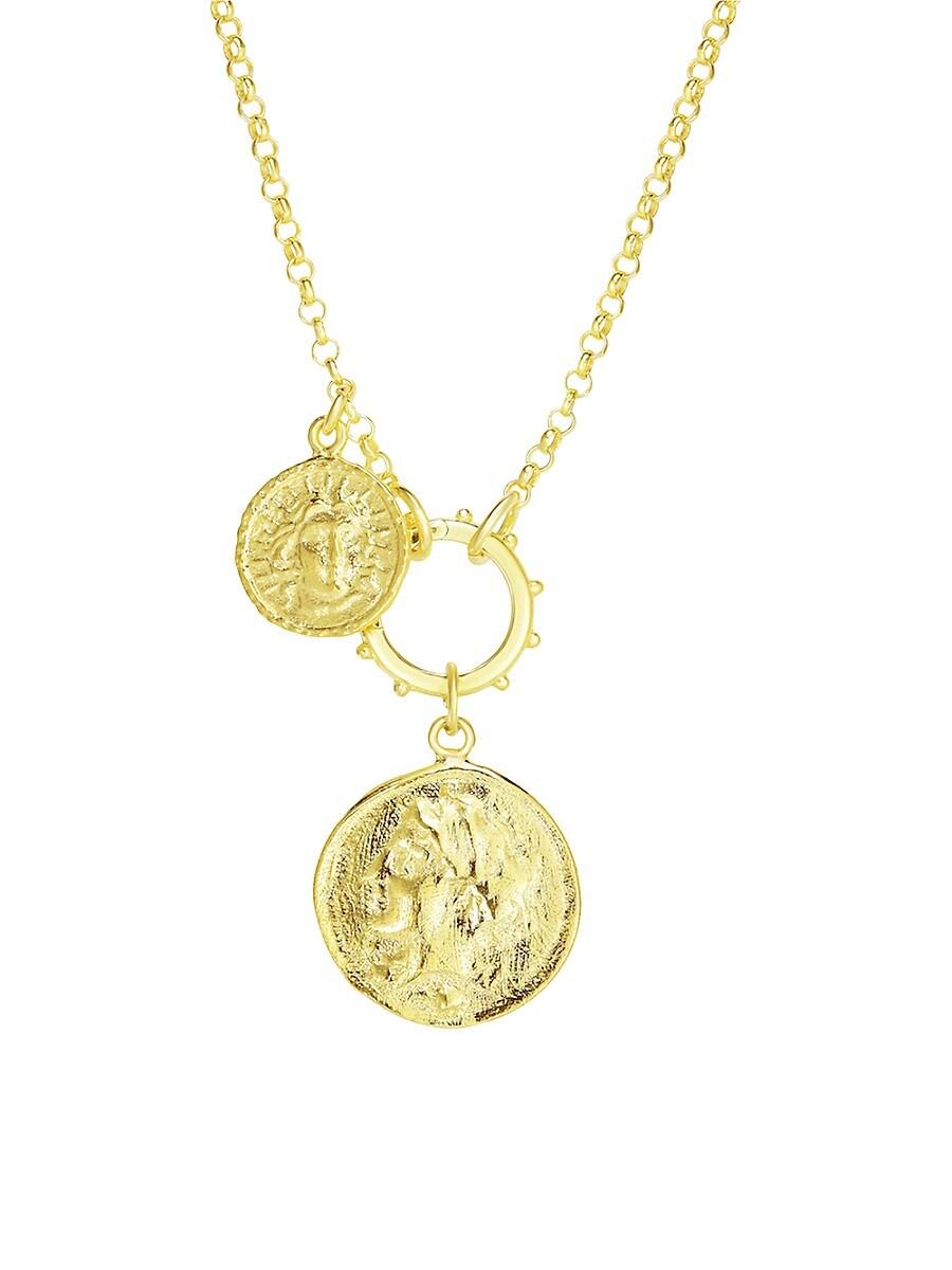Women's Double Coin Pendant Necklace