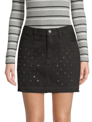 Frame Skirts Le Mini Embellished Denim Skirt