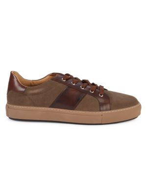 Di Bianco Lace-Up Suede & Leather Sneakers In Brown Multi