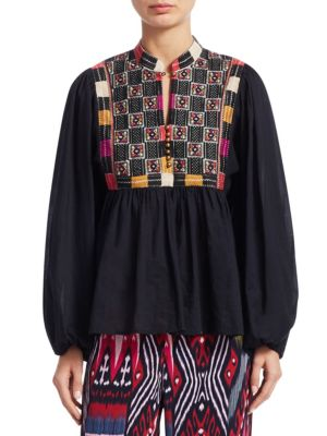 Figue Tops Nora Cotton Embroidery Blouse