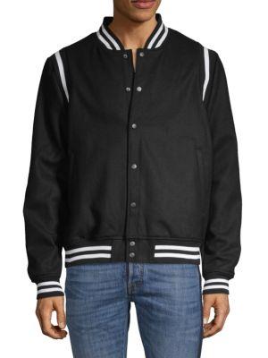 Sovereign Code Wool-Blend Bomber Jacket In Black White
