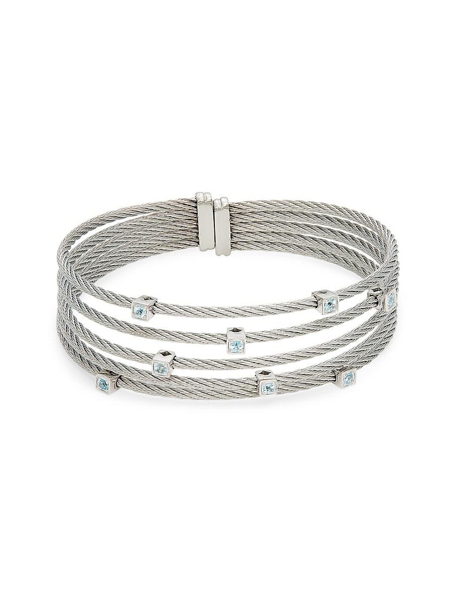 Women's 14K White Gold & Silvertone Blue Topaz Cuff Bracelet