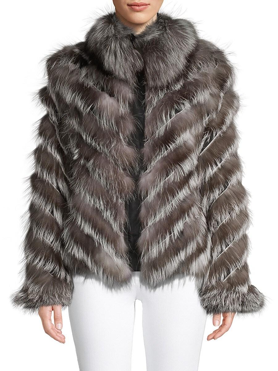 Women's Reversible Chevron Fox Fur Jacket