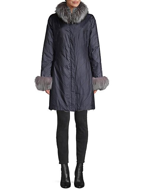 La Fiorentina Reversible Chevron Fox Fur Coat