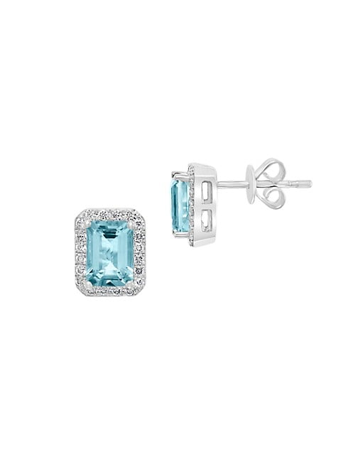 Effy 14K White Gold, Aquamarine & Diamond Earrings