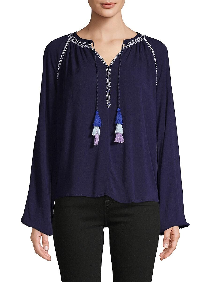 Women's Embroidered Raglan-Sleeve Top