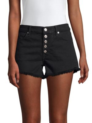 7 For All Mankind Cut-off Denim Shorts In Pitch Black