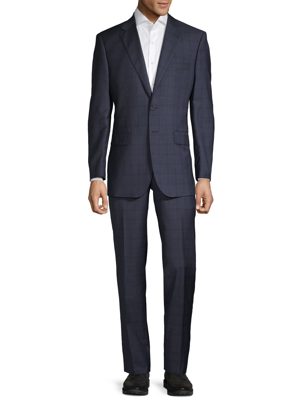Saks Fifth Avenue Made in Italy Tailored-Fit Windowpane-Print Wool Suit
