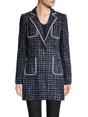 Karl Lagerfeld Jackets Tweed Button-Front Jacket