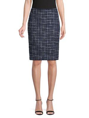 Karl Lagerfeld Skirts Textured Knee-Length Tweed Skirt