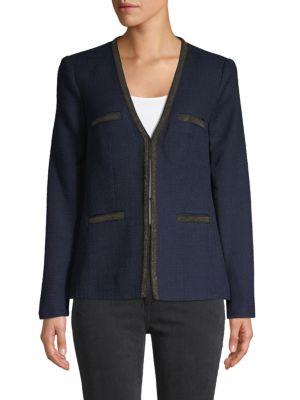 Karl Lagerfeld Jackets Front-Hook Tweed Jacket