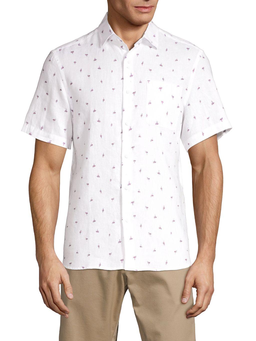 Saks Fifth Avenue Flamingo-Print Linen Shirt