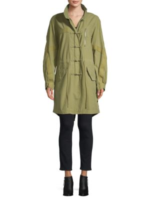 Alexander Wang Washed Workwear Cotton Parka In Army