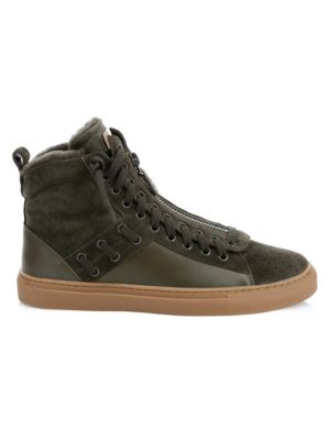 Bally Sneakers Hekem Shearling-Lined Suede High-Top Sneakers