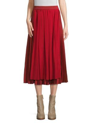 Agnona Skirts Pleated Overlay Midi Skirt