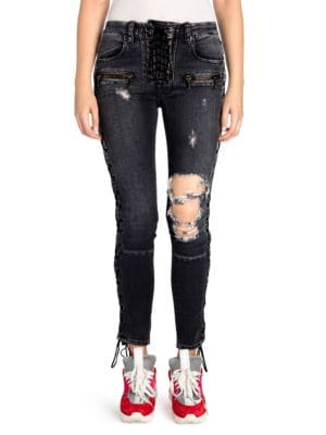 Ben Taverniti Unravel Project Jeans Lace-Up Distressed Skinny Jeans