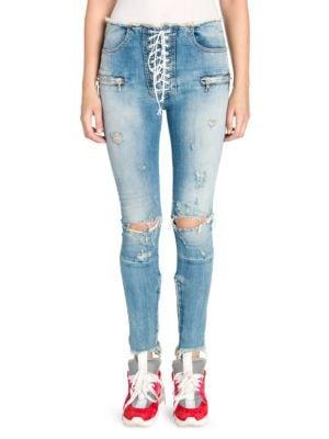 Ben Taverniti Unravel Project Jeans Vintage Lace-Up Skinny Jeans