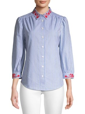Draper James Embroidered Striped Button-down Shirt In Blue