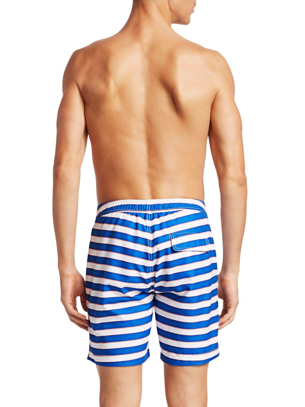 Saks Fifth Avenue MODERN Macro Pinstripe Swim Shorts