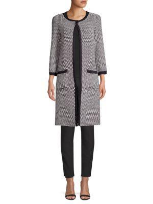 St. John Coats Mod Herringbone Knit Coat