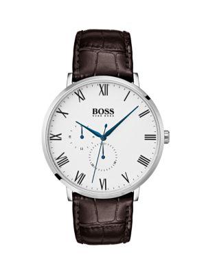 Hugo Boss Watches William Ultra Slim Leather-Strap Watch