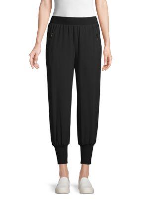 L Agence Cotton-blend Jogger Pants In Black