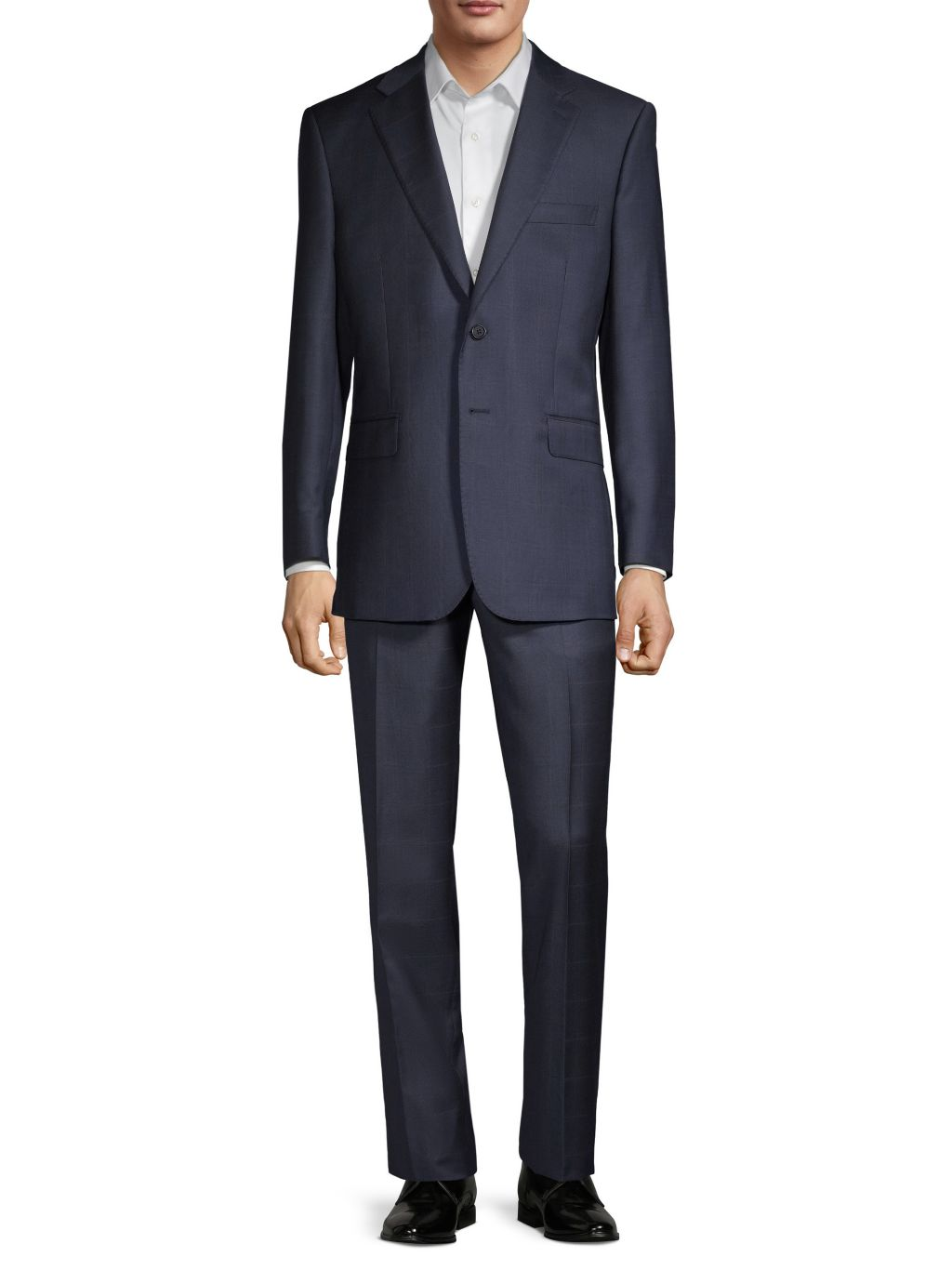 Saks Fifth Avenue Made in Italy Tailored-Fit Windowpane Plaid Wool Suit