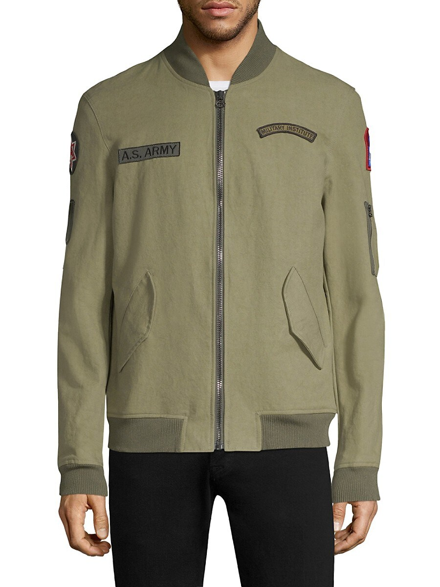 Men's Patchwork Cotton Bomber Jacket