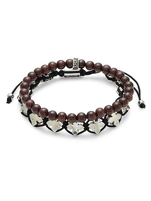 King Baby Studio 2-Piece Sterling Silver & Garnet Bracelets