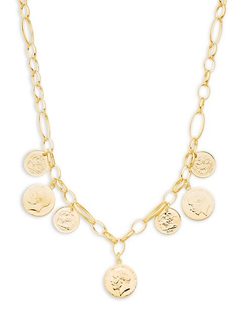 Saks Fifth Avenue Made in Italy Goldplated Sterling Silver Multi-Coin Charm Necklace