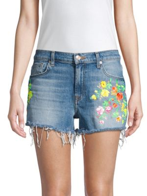 7 For All Mankind Tops High-Waist Embroidered Floral Frayed Cutoffs