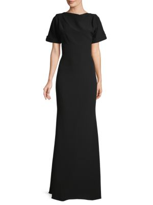 Badgley Mischka Tops Open-back Boatneck Gown