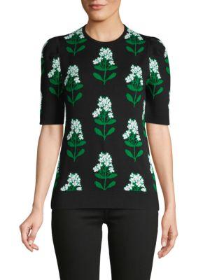 Carolina Herrera Floral Jacquard Wool & Cotton-Blend Top In Black