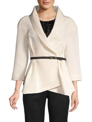 Carolina Herrera Belted Silk Jacket In Ivory