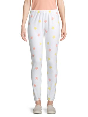Wildfox Star-print Fleece Jogging Pants In Clean White