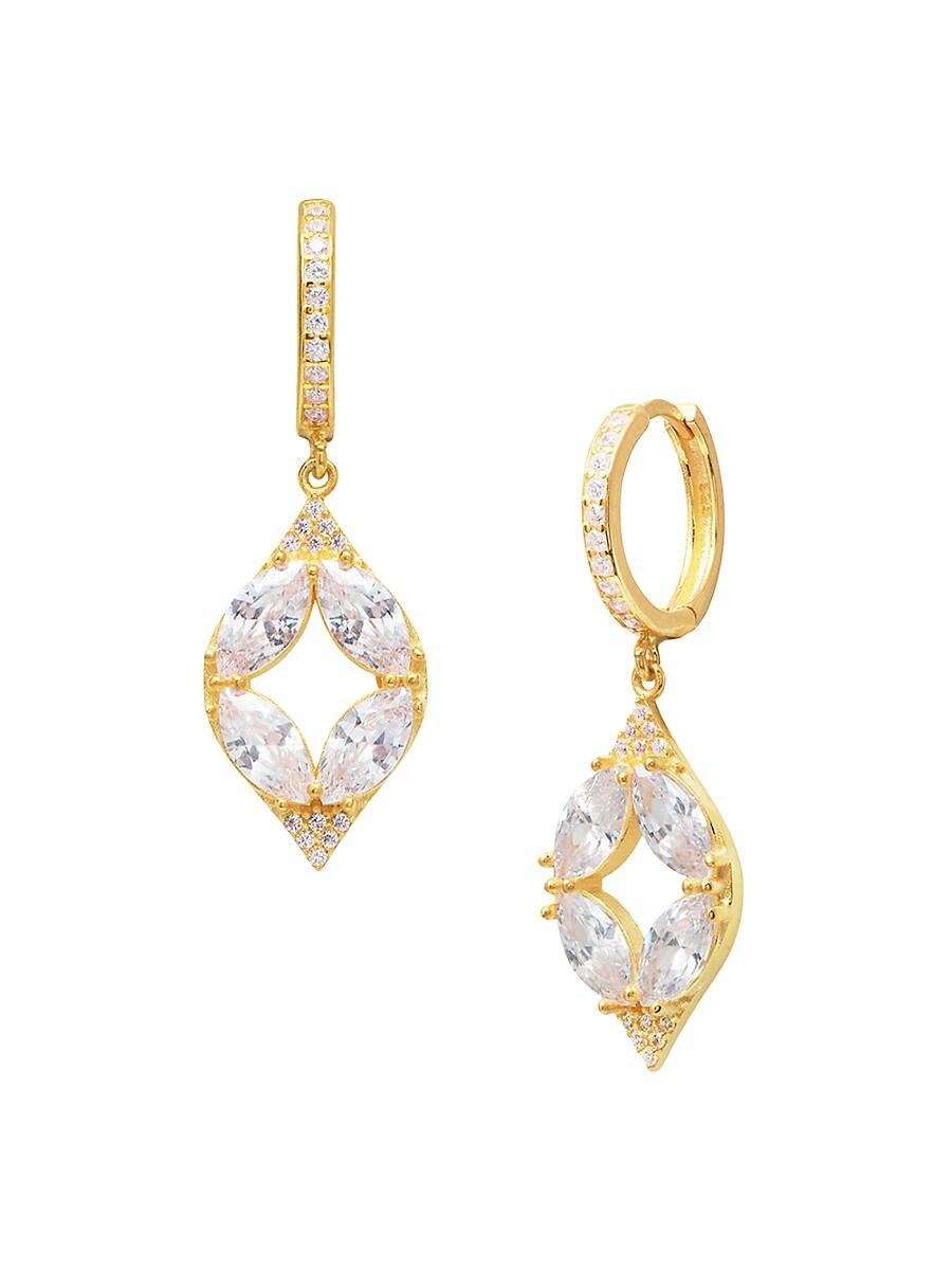 Women's 22K Gold Vermeil & White Crystal Drop Earrings