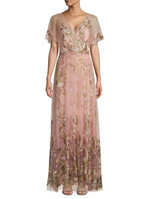 Marchesa Tops Flutter-Sleeve Embroidered Tulle Gown
