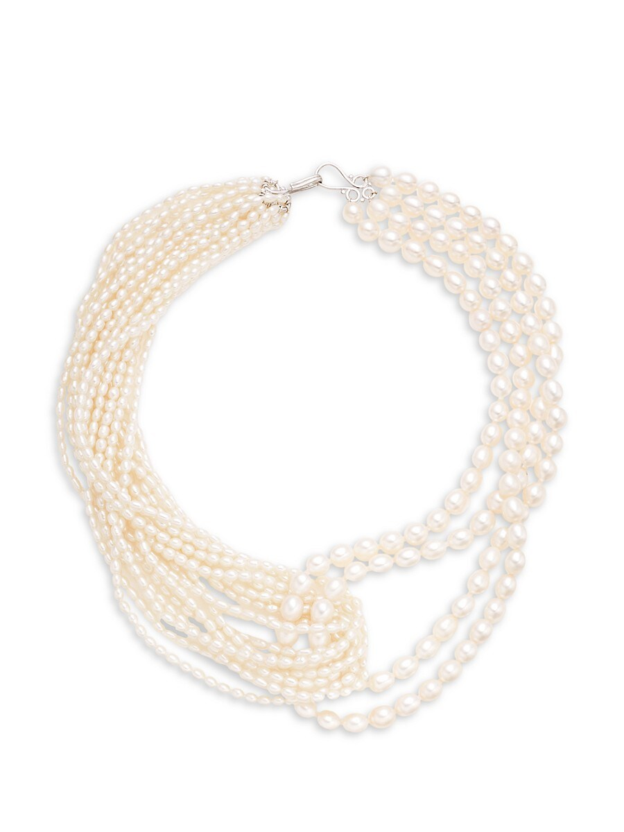 Women's Sterling Silver & 3-7MM Oval Freshwater Pearl Multi-Row Necklace