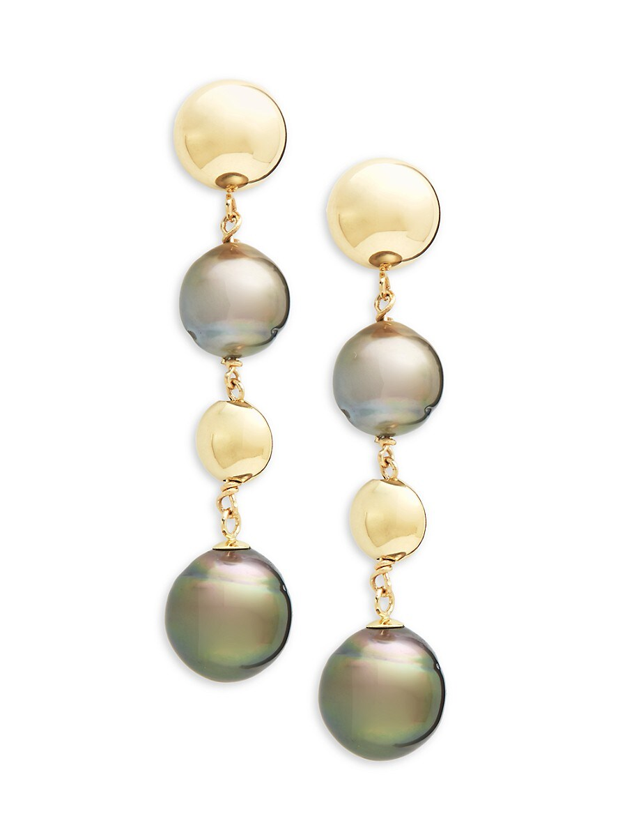 Women's 14K Yellow Gold & 9-10MM Round Tahitian Pearl Drop Earrings