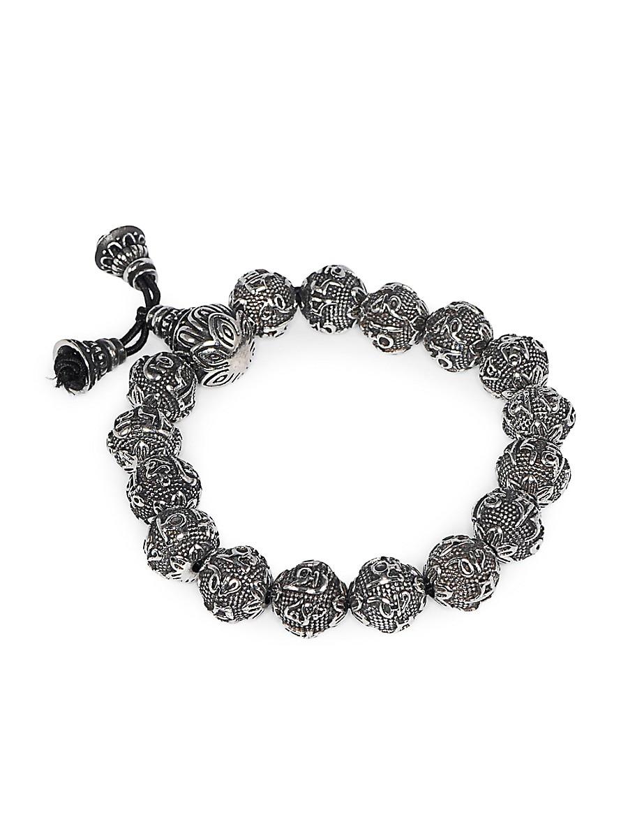 Men's Stainless Steel Sanskrit Mantra Beaded Bracelet