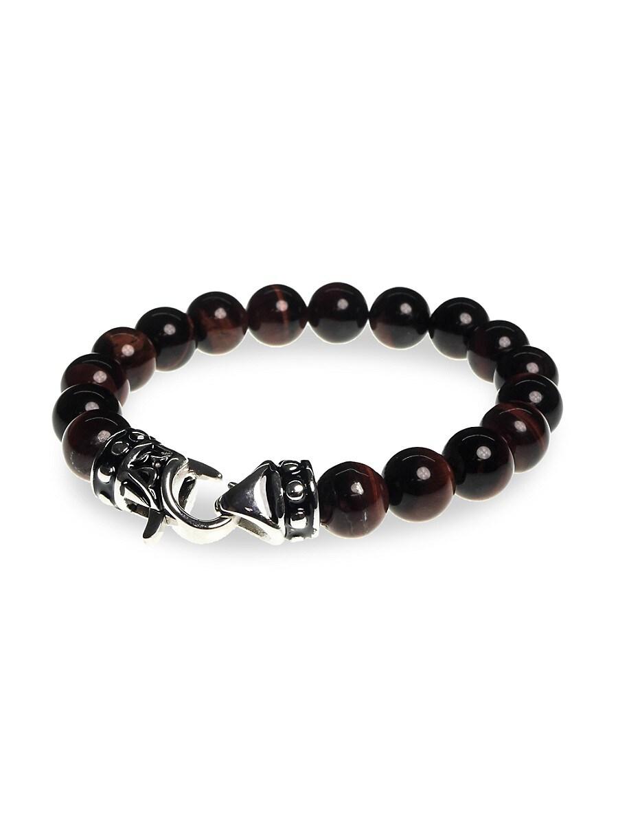 Men's Stainless Steel & Tiger's Eye Beaded Bracelet