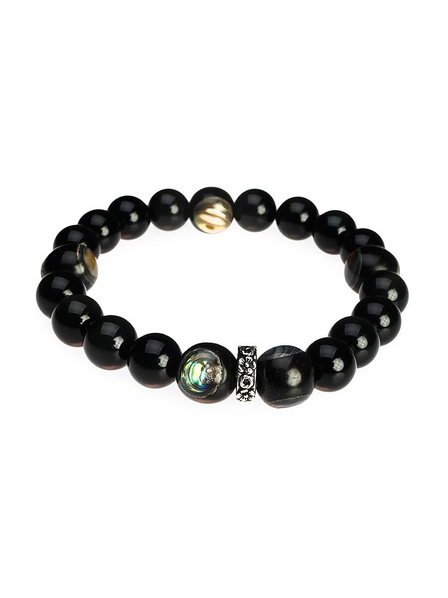 Men's Eye of Soul Silvertone Beaded Spiritual Bracelet